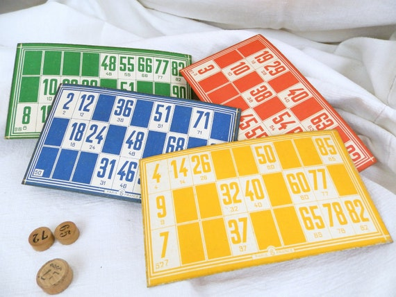 4 Vintage French Colored Lottery Cards, Retro Bingo Card from France, 1940s Loto Playing Game in Yellow, Red, Green and Blue, Brocante Decor