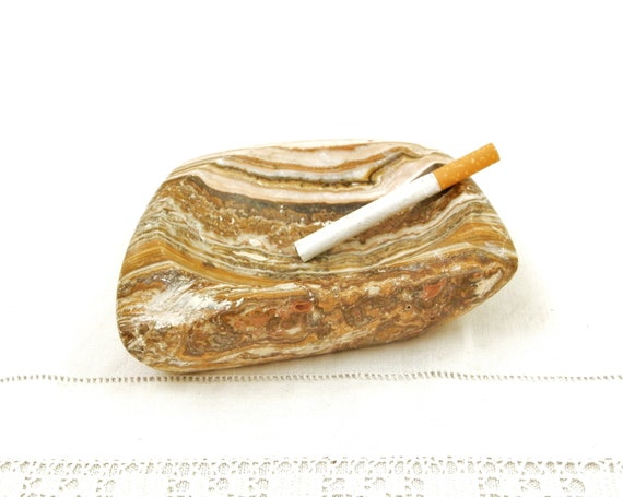 Vintage French 1970s Carved Veined Marble Stone Cigarette Ashtray, Retro 70s Heavy Brown Colored Pattern Cigar Tray from France