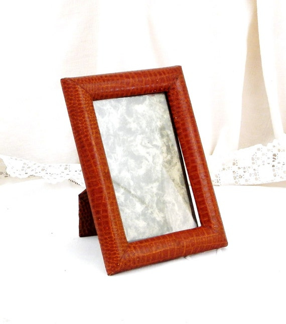 Vintage French Faux Snake Skin Leather Picture Portrait Frame, Brocante Chateau Chic Decor, Flea Market Retro Home Interior from France