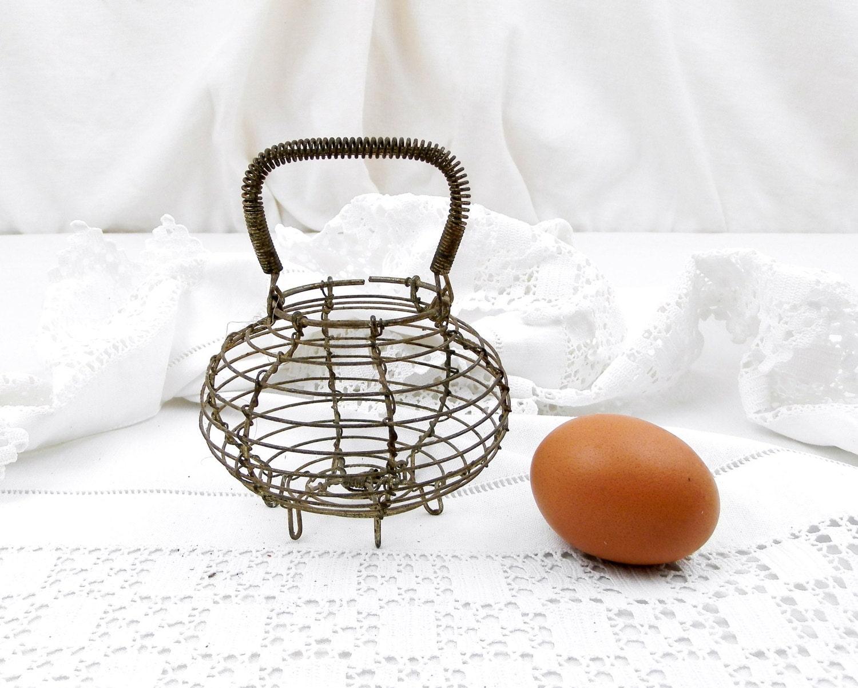 Vintage French Toy Wire Ware Egg Basket, Miniature Salad Strainer ...