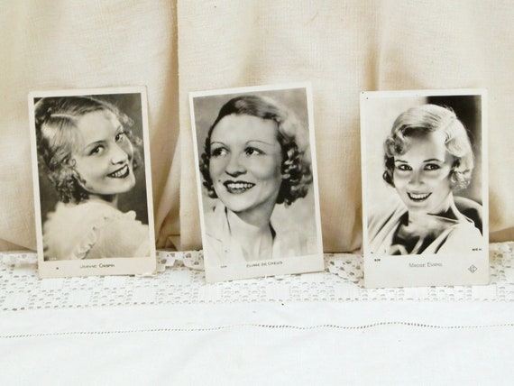 3 Vintage French Black and White Postcard of 1940s Actresses Jeanine Crispin Madge Evans Eliane de Creus, Retro Chic Elegance from France