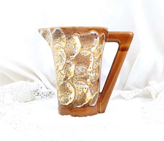 "Vintage French Mid Century Lava Ceramic Pitcher with Glaze ""Rocaille De L'Ocean"" in Beige White and Brown, 1960s MidCentury Retro Home Decor"