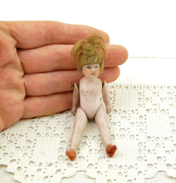 Tiny Antique German Bisque Porcelain Ceramic Articulated Doll with Hair, Small Retro Victorian China Girl from Germany, Collectible Kids Toy