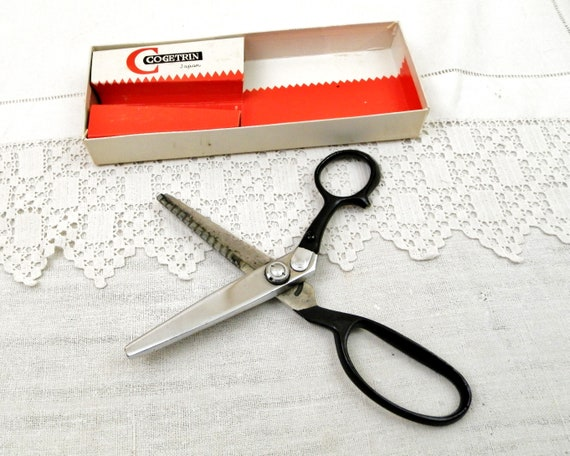 Vintage Dressmakers Boxed Metal Pinking Shears by Cogetrin, Retro Sewing Craft Tool, Zigzag Cutting Scissors in Good Working Condition
