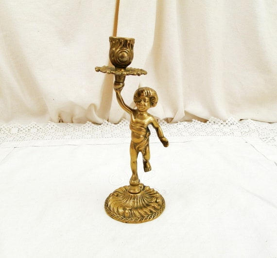 Vintage French Bronze Cherub, Angel Candle Holder / Chandelier / Candlestick / Candelabra, Shabby Chateau Chic, Retro French Country Decor