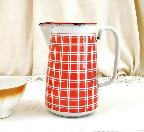 Antique French White and Red Chequered Pattern Porcelain Enamelware Water Pitcher by BB, Country Farmhouse Enamel Decor Jug from France