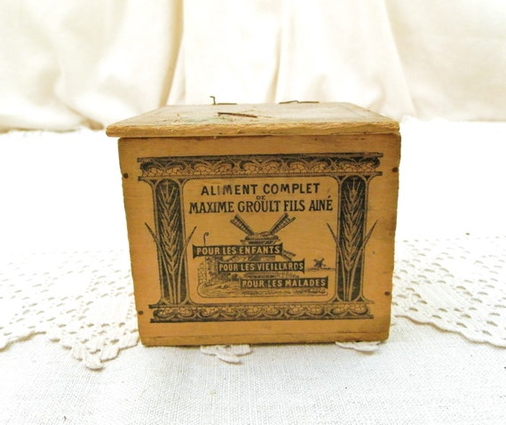 Antique French Wooden Printed Food Supplement Box, Retro Vintage Rustic Rural Wood Container from France, Country Farmhouse Cottage Decor