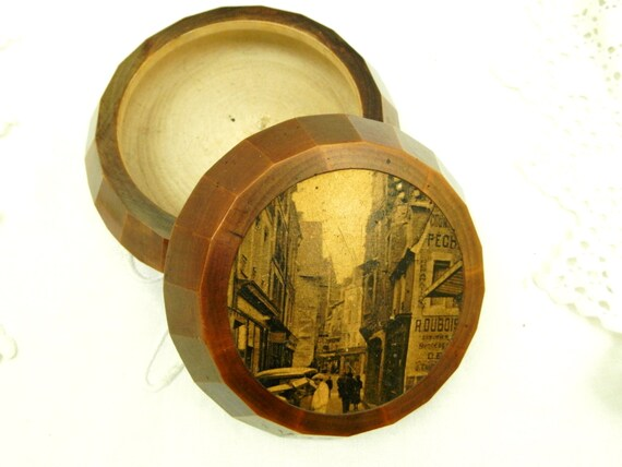 Antique French Art Deco Faceted Wooden Box With Antique Photograph of the Town of Vire in Normandy, 1930s Tinket Jewelry Bpox from France