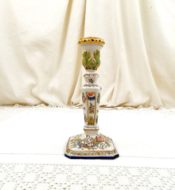 Antique French Hand Painted Ceramic Rouen Style Candle Holder Signed JJ, Vintage Candle Stick White with Floral Pattern, Country Decor