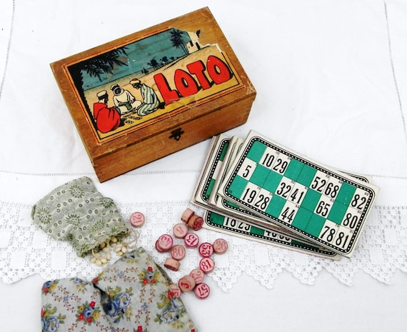 Vintage French Boxed Loto / Bingo Game Illustrated with Scene from North Africa With Cards and Tiles, Lottery Set from France, Dovetail  Box