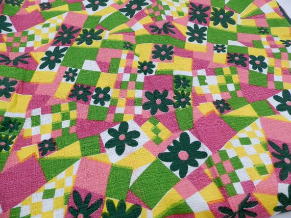 Unused Vintage 1960s / 1970s Pattern Cotton Fabric, Vivid Colors Pink Yellow and Green Cloth, Mid Century Material Remnant
