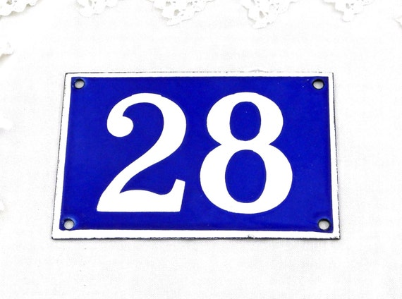 Vintage Traditional French Enamel House Number Plate Number 28 in Blue with White Colored Numbers, Retro Parisian Style Street Sign France