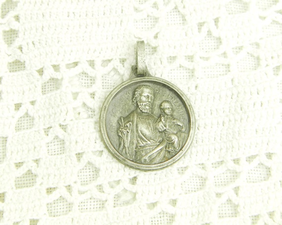 Vintage French Religious Sterling Silver Medal Saint Joseph and Baby Jesus, Christian Religion Charm, Catholic Metal Jewelry from France