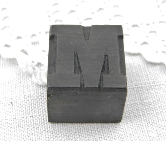 Antique French Wooden Square Printing Block Letter M, Retro Alphabetical Stamp Made of Wood from France, Parisian Shabby Country Decor