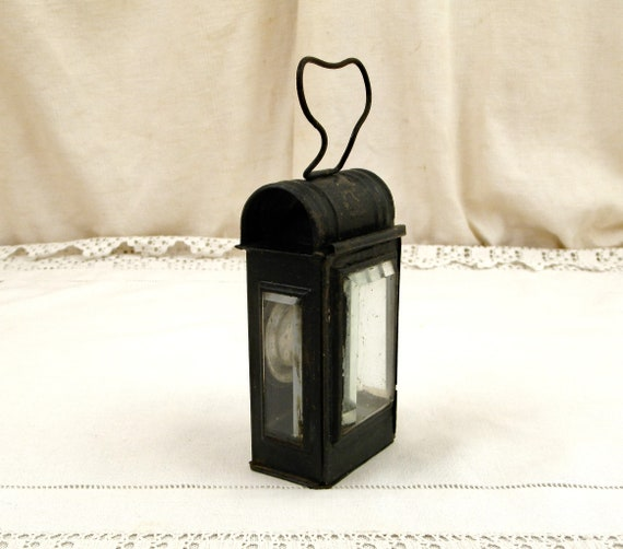 Small Antique French Beveled Glass and Metal Hand Held Oil Light, Retro Black Torch from France, Victorian Rustic Portable Lighting Lamp
