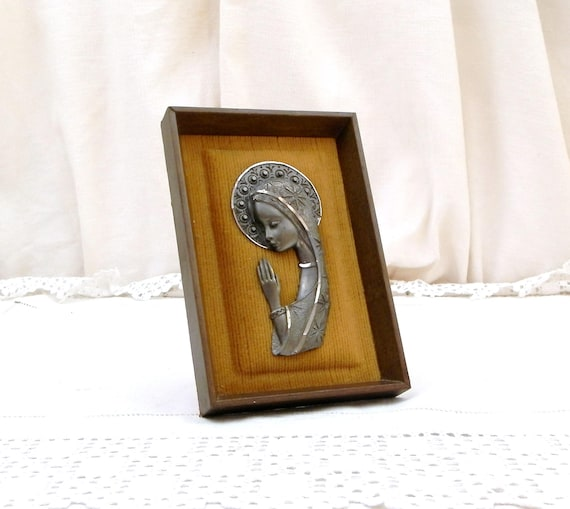 Vintage Mid Century 1960s Religious 3D Pewter Image of Virgin Mary, Framed Cast Metal Bas Relief of Our Lady / Madonna on Yellow Velvet
