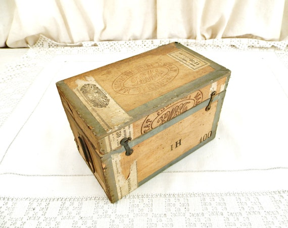 Small Antique French Wooden Cigar Crate for DGME Upcycled as a Carrying Case for Magic Lantern Slides, Retro Vintage Box from France