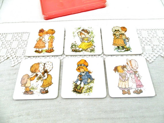 Set of 6 Vintage Boxed 1970s Sarah Kay Valentine Miss Petticoat Illustrations on Drinks Coasters, Retro 70s Cute Kids Drinking Accessories