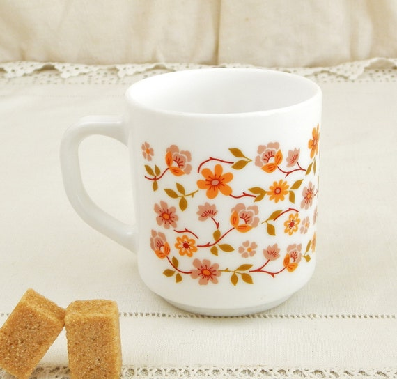 Vintage French White Milk Glass Arcopal  Mug with Orange Flower Pattern, Retro 1970s Coffee Cup Made in France, Collectible Kitchenware