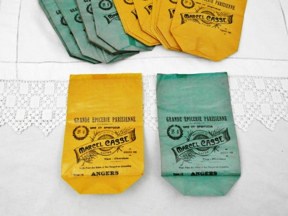 """Vintage Unused """"Grande Epicerie Parisienne"""" Bags for Coffee Made of Grease Proof Paper for Marcel Casse in Anger, Brocante from Paris"""