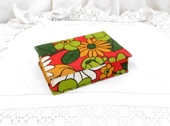 Vintage Retro 1960s French Pattern Fabric Covered Wooden Box, Mid Century Cloth Jewelry / Trinket Box from France, 60s Green and Red Colors