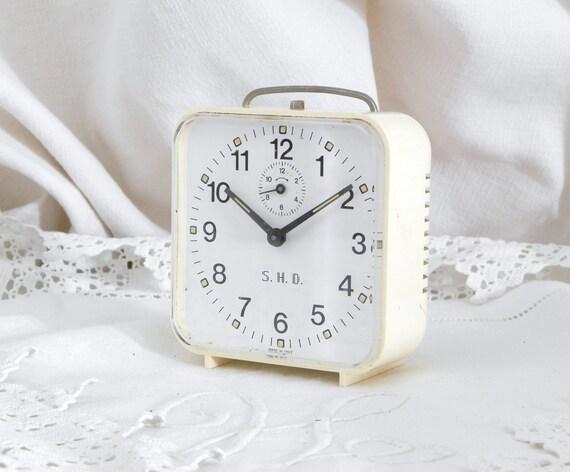 Working Vintage Mid Century 1960s Italian SHD Mechanical Alarm Clock Off White, Retro European Wind-up Bedside Timepiece, Bedroom Decor