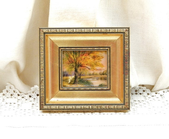 Vintage French Framed Hand Painted Enamel with Autumnal Scene by Limoges Emaux D'Art Artist Pierre Bonnet, Signed Picture in Frame France