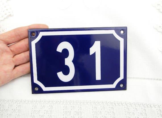 Vintage Traditional French Blue and White Enamel Metal Number Plaque 31, Vintage Porcelain House Street Enameled Address Sign from France