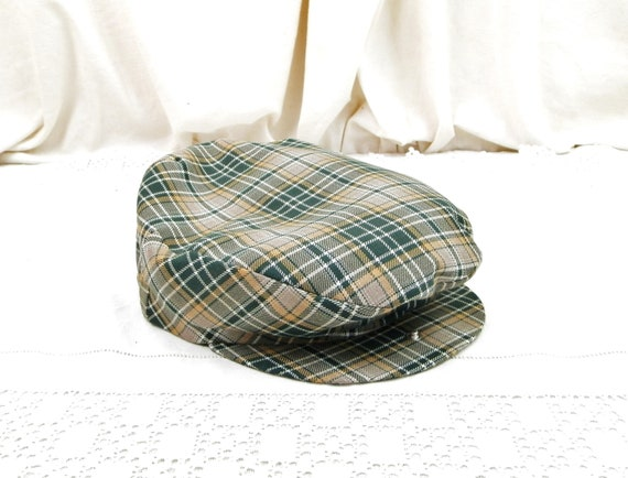 Vintage French Unused Cloth Flat Cap with Green Pale Brown Checkered Pattern, Retro Hat from France, Retro Rural Rustic Head ware Accessory