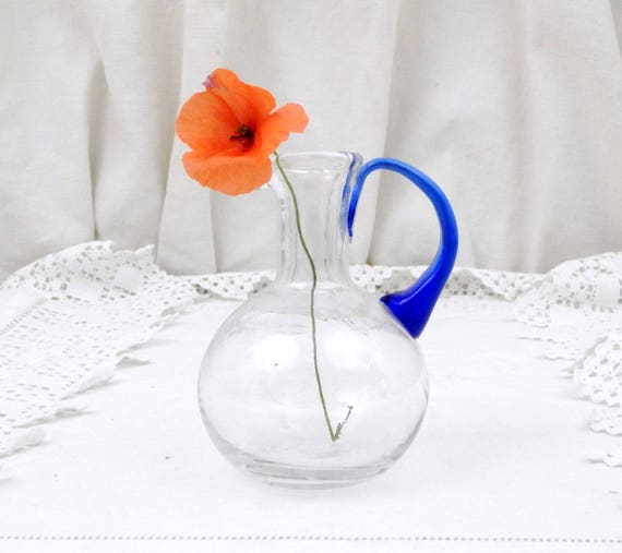 Small Vintage Blown Glass Handmade Vase / Jug with Blue Handle, Glass Oil Bottle, French Vintage Table Decor, Retro Home Interior