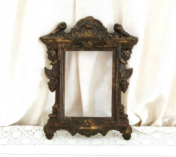 Antique German 19th Century Rococo Wood Composite Molded Picture Frame, Retro Paste Late Baroque Home Decor Made in Germany from France