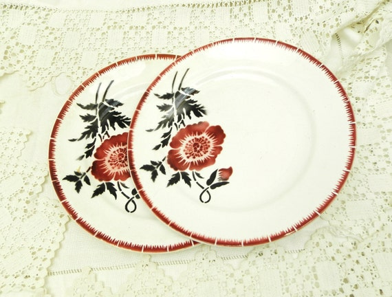 2 Antique French Ceramic China Desert Plate with Poppy Flower Motif, 1930s Retro Brocante Tableware from France with Flower Pattern