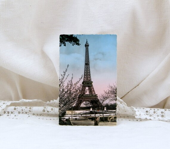 Vintage 1960s Mid Century French Colored Black and White Postcard Eiffel Tower Paris, Parisian Retro Home Interior, French Decor, France