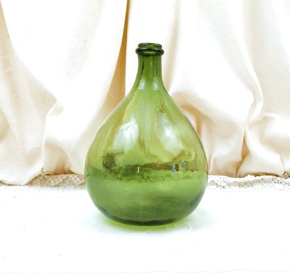 Small Vintage French Green Glass Demijohn / Carboy 3 L /  0.79 Gallons, French Country Farmhouse Decor, Round Demi John  Bottle from France