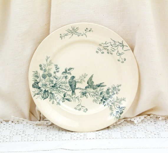 Antique French Ironstone Plate with Blue Tit Birds Mignon Pattern by Longwy in Teal Blue, Decorative Victorian Animal Plate from France