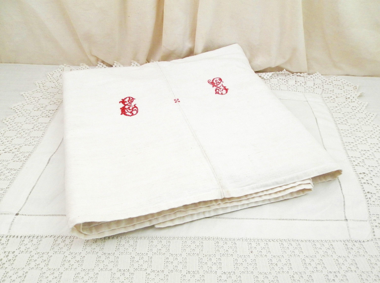Anciens Français Excellent État main tissés en lin et coton Métis blanc feuille avec monogramme rouge croix point lettres E G France