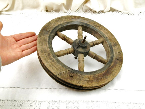 Small Antique French Wooden 2 Rope Pulley Wheel, Rustic Primitive Spinning Wheel with Six Spokes from France, Brocante Cart Country Decor