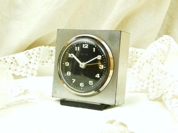 Working Vintage Mid Century 60s / 70s German Wind Up Mechanical Silvoz Alarm Clock, European MidCentury Decor, Bedroom Bedside Timepiece