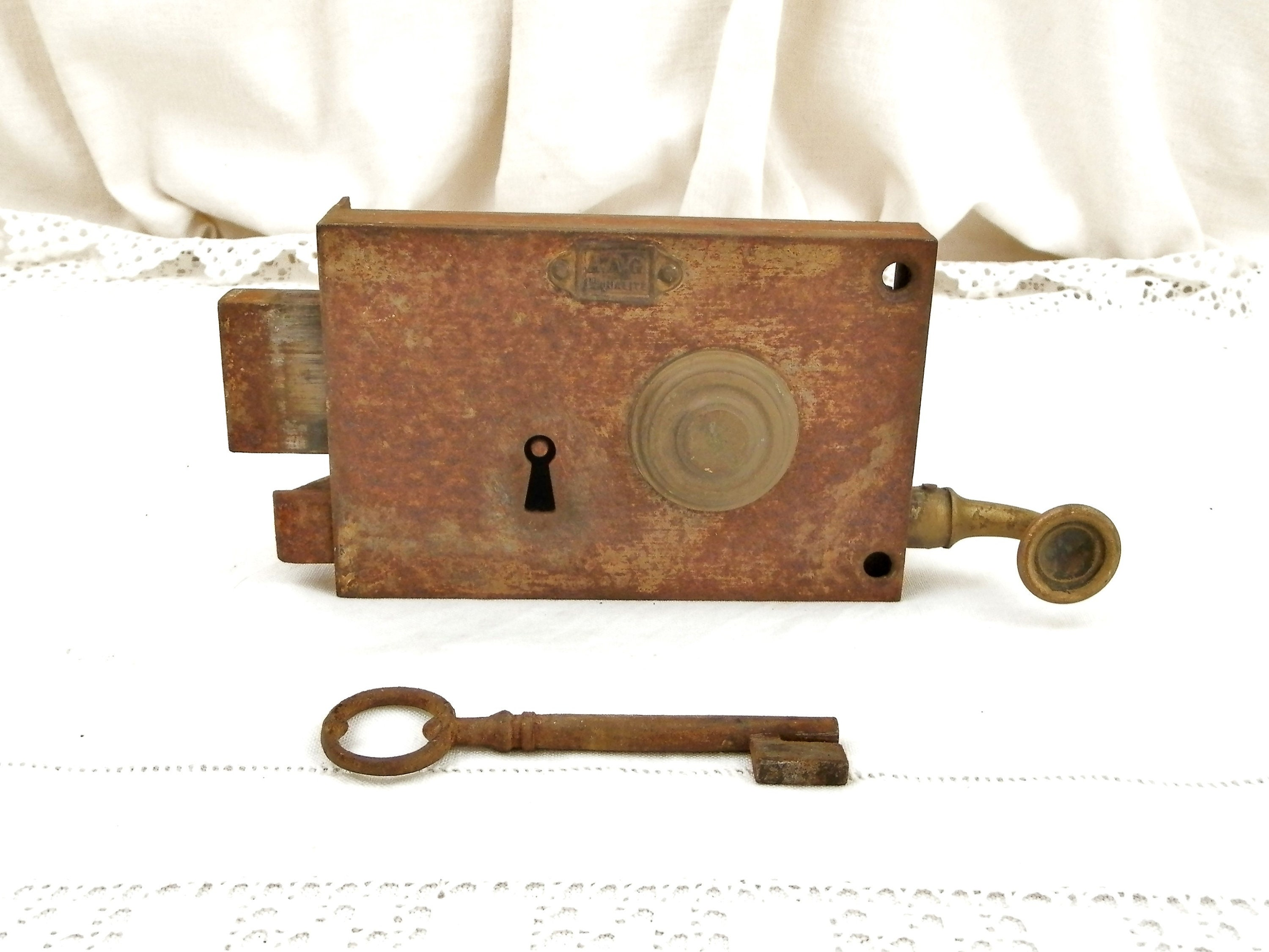 Antique French Iron and Brass Traditional Authentic Working Front ...