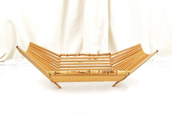 Vintage Mid Century 1960s Bamboo Wooden Slats Fruit Basket, Retro Table Serving Container made of Wood from France, Fleamarket Home Decor