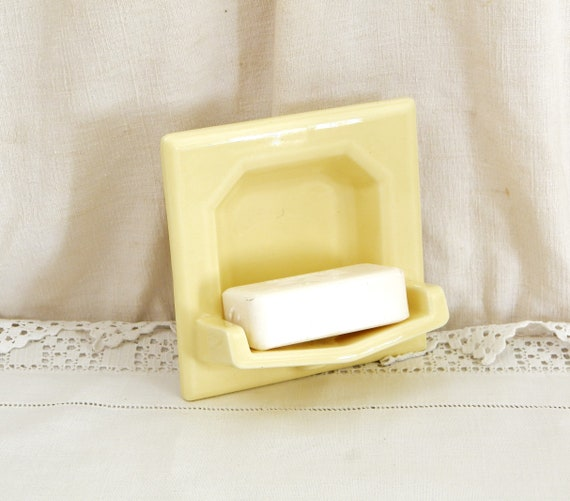 Vintage French 1950s / 1960s Ceramic Soap Bar Holder Yellow Glazed Square Tile, Retro Bathroom Home Pottery DIY Item from France, Soap Dish