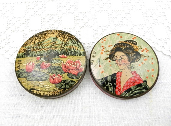 """Rare Antique French Round Candy Tin Japonism Pattern """" Cachou Les Lotus"""", Lotus Flower and Geisha Lithographed Metal Box, Brocante Parisian"""