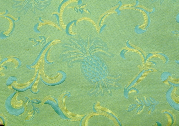 Vintage French Mid Century 1950s Upholstery Cotton Fabric Green and Yellow Pineapple Pattern 2 M by 140 M / 6.56 ft by 4.59 ft, Retro Cloth