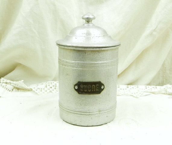 Antique French 1920s White Metal Kitchen Sugar Canister, Country Farmhouse Cottage Kitchenalia Decor from France, Retro Brocante Kitchenware