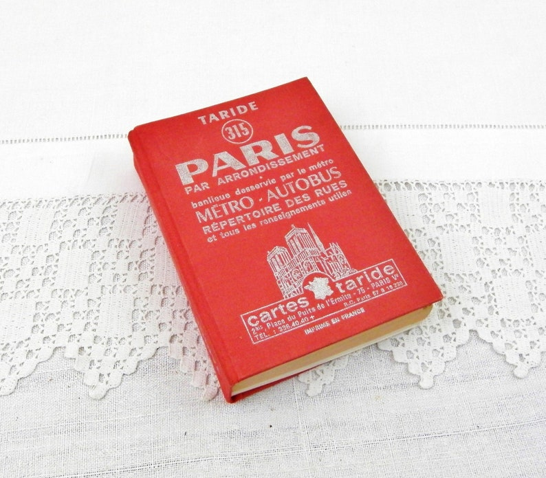 Vintage Book of Metro and Bus Routes in Paris, French Guide Book A to Z of  Streets, Retro Maps of Parisian Neighborhoods, Decor France