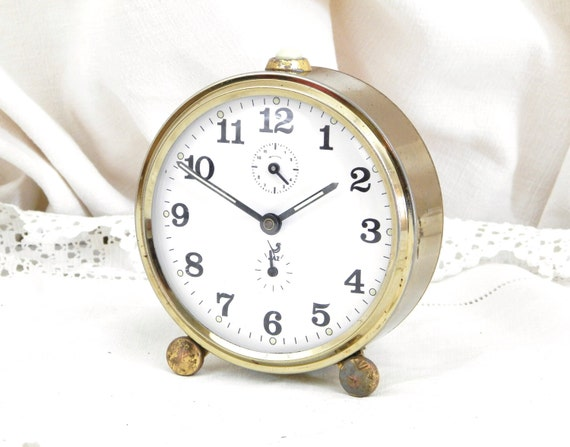 Working Vintage 1950s French Jaz Silver Colored  Mechanical Alarm Clock, Wind-up Bedside Time Piece, Mid Century Retro Clock from France
