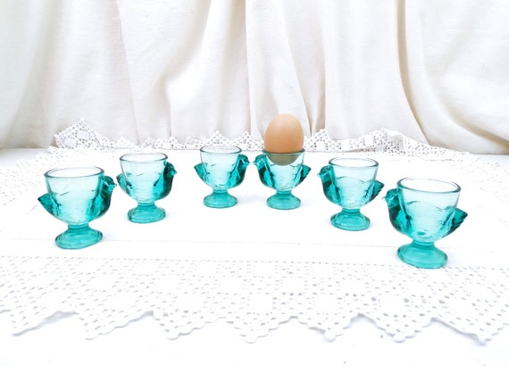 Pair Vintage Matching Green Glass French Verrie D'Arques Chicken Egg Cups, Retro Breakfast Accessory from France, Arcopal Rooster Decor