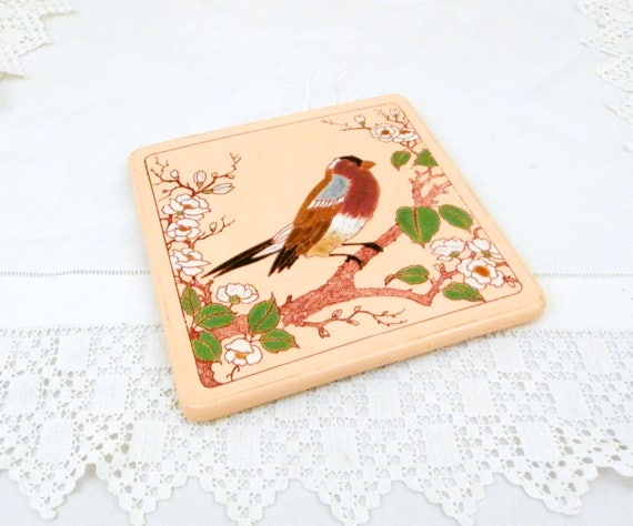 Antique French Longwy Ceramic Trivet / Hot Plate in Pink Glaze with Bird / Finch Pattern, Retro Kitchenware Pottery Hotplate from France