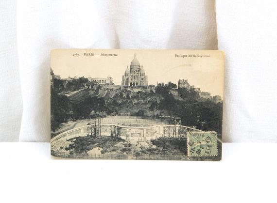 French Antique Black and White Postcard, The  Sacré Coeur de Monmartre Paris / French Parisian Decor Vintage Postcard Retro Home Interior
