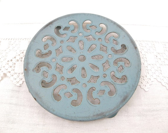 Antique French Round Blue Enameled Metal Trivet, Enamelware Hot / Heat Mat from France, Country Cottage Shabby Chic Kitchen Enamel Decor